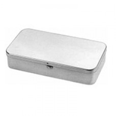 Metal case, 200 x 100 x 20 mm, with lid and slide lock, 18/8 stainless steel