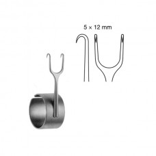 MILLARD COTTLE RETRACTOR WITH FINGER RING, 5.5CM, DOUBLE PRONG, SHARP, 5X12MM