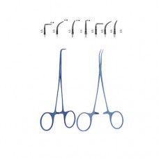 Halstead Posquito Forcep Very delicate Serrated jaws  0.6mm tips Straight,12.5cm 0.6mm tips,Slightly curved,12.5cm 0.6mm tips, 0.6cm tips,Straight,0.6mm tip width 1 x 2teeth,12.5cm Slightly curved,0.6mm tip width,1 x 2teeth, angle,0.6mm tip width,12.5cm